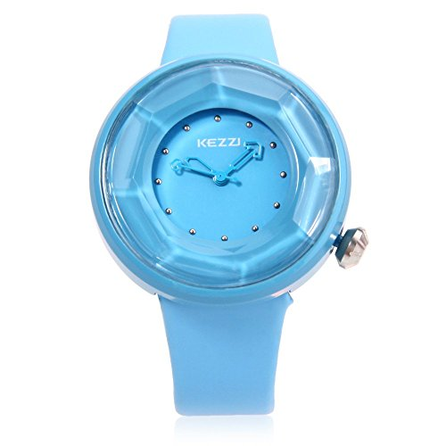 Leopard Shop kezzi K708 weiblich Quarzuhr Schneiden Oberflaeche Zifferblatt Wasser Widerstand Leder Band Armbanduhr Blau