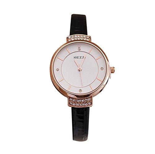 Kezzi Damen Armbanduhr Elegant Strass Fassung Analog Quarz schwarz rose jw443schwarz