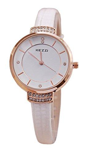 Kezzi Elegant Strass Fassung Analog Quarz weiss rose jw443