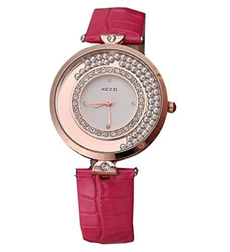 Kezzi Damen Armbanduhr elegante Uhr Quicksand bewegliche Kugeln Strass Analog Quarz rosegold rot