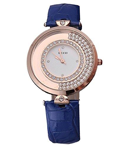 Kezzi Damen Armbanduhr elegante Uhr Quicksand bewegliche Kugeln Strass Analog Quarz rosegold blau