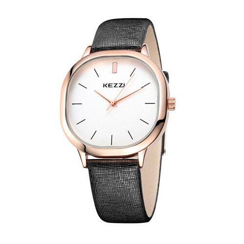 Kezzi Unisex Armbanduhr Quarz minimal Lederband rosegold schwarz