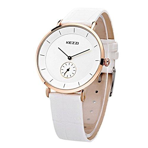 Kezzi Unisex Armbanduhr Quarz minimal keine Ziffern Lederband gold weiss