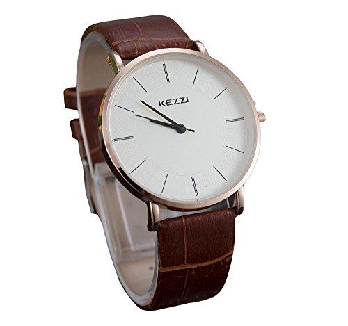 Kezzi unisex Armbanduhr minimal keine Ziffern Lederband gold braun