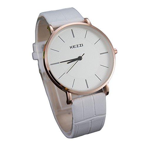 Kezzi unisex Armbanduhr minimal keine Ziffern Lederband gold weiss