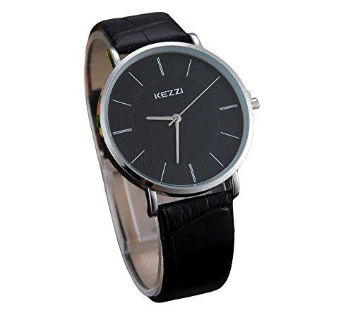 Kezzi unisex Armbanduhr minimal keine Ziffern Lederband silber schwarz