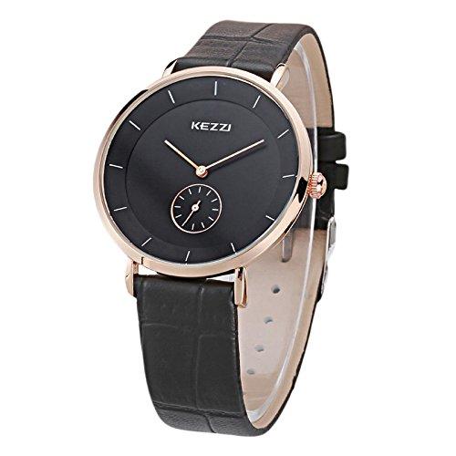 Kezzi Unisex Armbanduhr Quarz minimal keine Ziffern Lederband gold schwarz