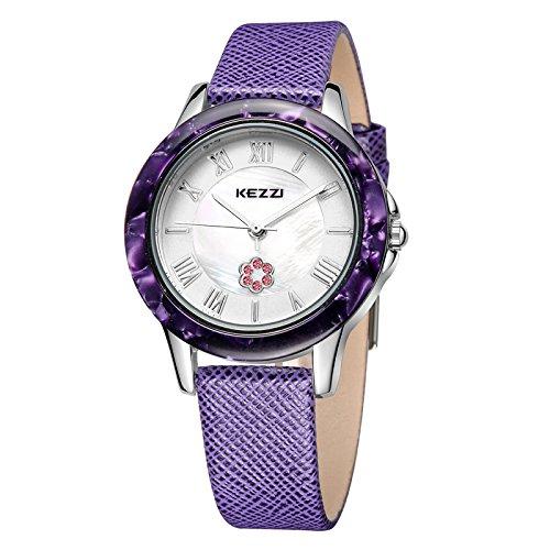 Kezzi roemische Ziffern Strass Perlmutt Lederband silber lila