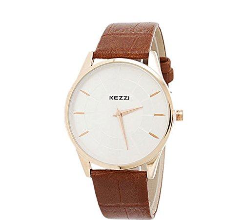Kezzi Unisex Armbanduhr Quarz minimal Lederband gold braun