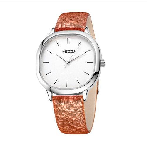 Kezzi Unisex Armbanduhr Quarz minimal Lederband silber braun
