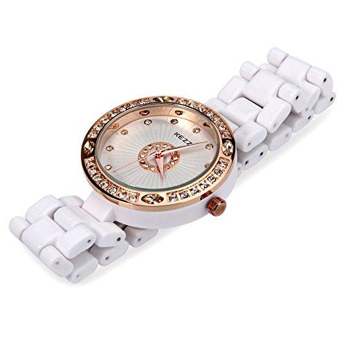 Leopard Shop kezzi K 835 Damen Quarzuhr Kuenstliche Diamant Zifferblatt Wasser Widerstand Keramik Trageriemen Fashion Armbanduhr Gelb