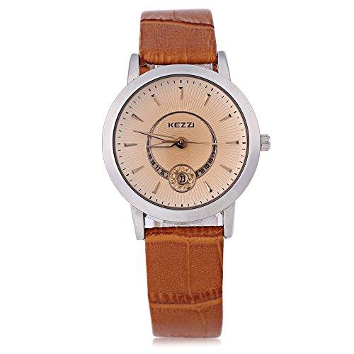 Leopard Shop kezzi K 878l Frauen Quarzuhr phosphoreszierende Zeiger Datum Display Kuenstliche Diamant Armbanduhr Silber