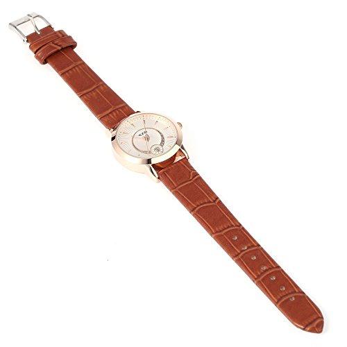 Leopard Shop kezzi K 878l Frauen Quarzuhr phosphoreszierende Zeiger Datum Display Kuenstliche Diamant Armbanduhr Golden