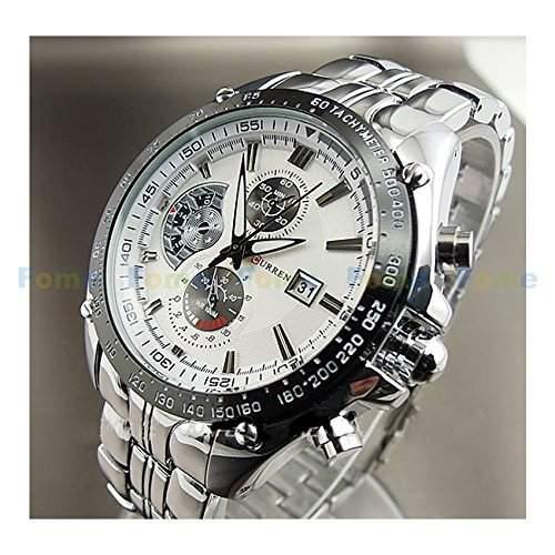 Schaumstoff CURREN Fashion Damen und Herren-Armbanduhr Quarzwerk Schaumstoff Geschenk CURREN 6 Silver beltWhite face