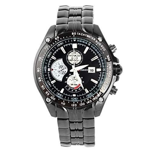 UNIQUEBELL Armbanduhr Edelstahl Herrenuhr Sportuhr Uhr Quarzuhr Wristwatch Geschenk Schwarz