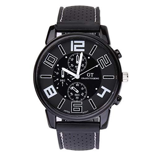 UniqueBella Uhr Armbanduhr Silikon Uhren Herrenuhr Wristwatch Geschenk Weiss
