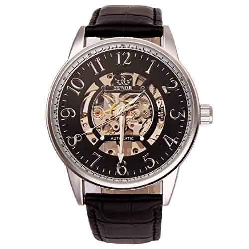 Uniquebella Uhr Leder Automatik Mechanische Kalender Armbanduhr fuer Mann Herrenuhren Geschenk Schwarz