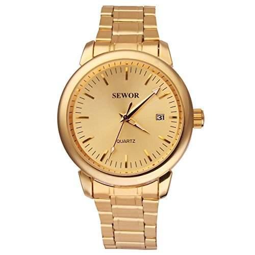 UNIQUEBELLA Edelstahl Uhr Automatik Mechanische Kalender Armbanduhr Herrenuhren Geschenk Golden