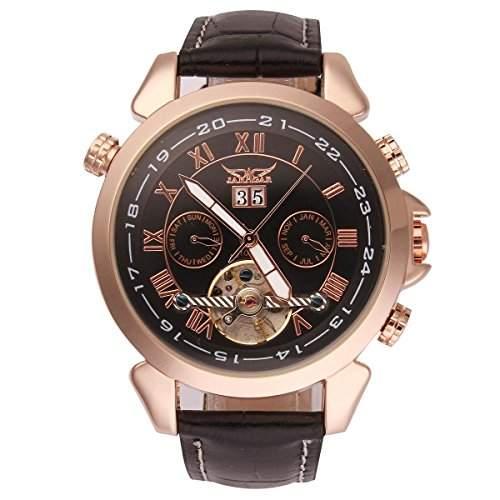 Uniquebella Uhr Leder Automatik Mechanische Kalender Armbanduhr Herrenuhren Geschenk Schwarz 2