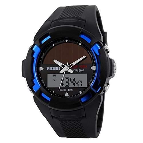 UniqueBella LED Uhr watches Jungen Armbanduhr Analog Digital Alarm Datumanzeige Schwarz