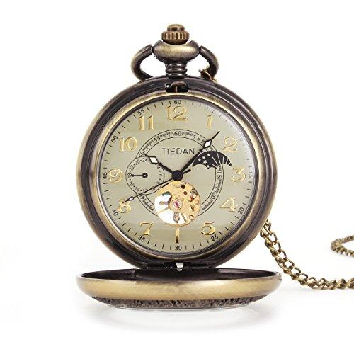 UNIQUEBELL Taschenuhr Halb Automatikuhr Herren Handaufzug Mechanisch Uhr Pocket Watch Geschenk Gift Mit Euti F166