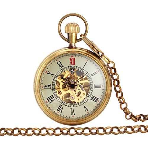 UNIQUEBELL Taschenuhr Halb Automatikuhr Herren Handaufzug Mechanisch Uhr Pocket Watch Geschenk Gift Mit Euti F165