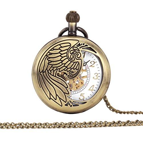UNIQUEBELL Taschenuhr Halb Automatikuhr Herren Handaufzug Mechanisch Uhr Pocket Watch Geschenk Gift Mit Euti F167
