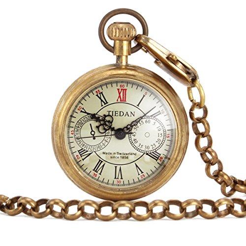 UNIQUEBELL Taschenuhr Halb Automatikuhr Herren Handaufzug Mechanisch Uhr Pocket Watch Geschenk Gift Mit Euti F163