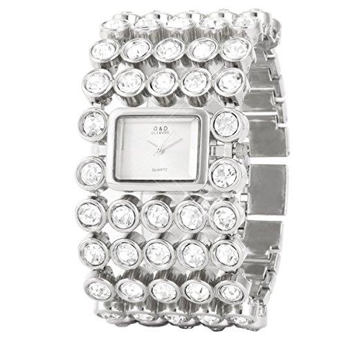 UNIQUEBELLA Elegant Armbanduhr Strass Quarzuhr Edelstahl Armreifen Armkette Vogue Analog Qaurzuhr watch Gift Silber