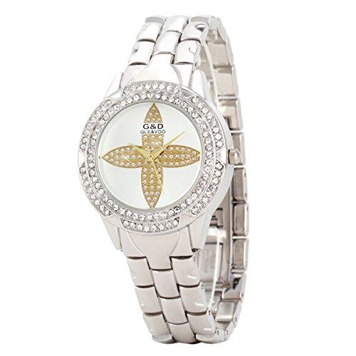 UNIQUEBELLA Elegant Armbanduhr Strass Quarzuhr Edelstahl Armreifen Armkette Blatt Vogue Analog Qaurzuhr Watch Gift Silber
