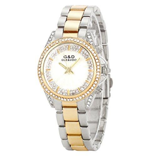 UNIQUEBELLA Elegant Armbanduhr Strass Quarzuhr Edelstahl Armreifen Armkette Vogue Analog Qaurzuhr Watch Gift Silber Golden