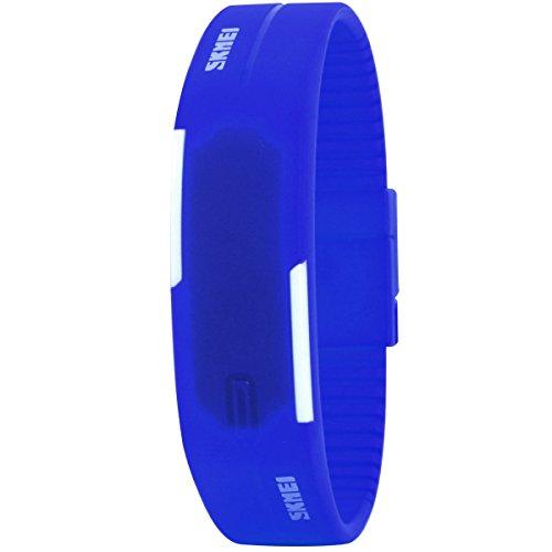 UNIQUEBELLA Armbanduhr LED Digitaluhr Sportuhr Kinder Herren Damen Junen Watch Uhr Silikon Wasserdicht Blau