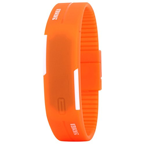 UNIQUEBELLA Armbanduhr LED Digitaluhr Sportuhr Kinder Herren Damen Junen Watch Uhr Silikon Wasserdicht Orange