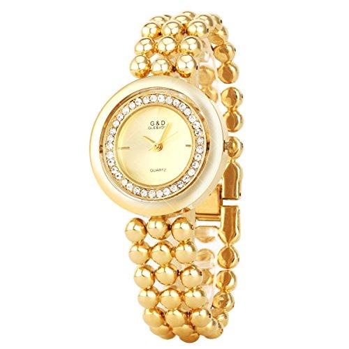 UNIQUEBELLA Elegant Armbanduhr Strass Quarzuhr Edelstahl Armreifen Armkette mit drehbarem Gehaeuse Vogue Analog Qaurzuhr Watch Gift Golden