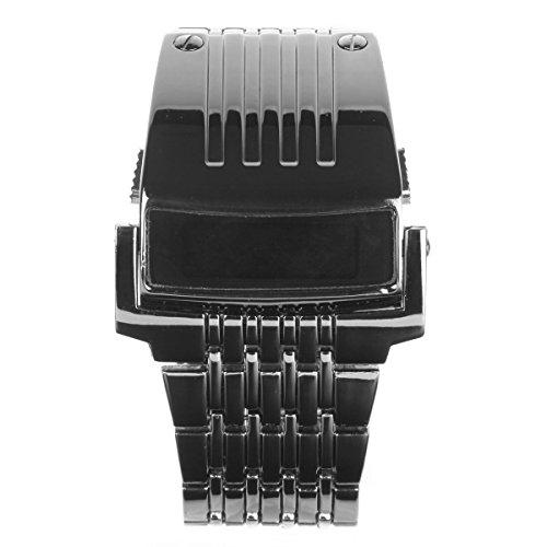 UNIQUEBELLA Herren Uhr Schwarz LED Armbanduhr Digital Analog Herrenuhr Edelstahl Uhr Geschenk Watch Gift 2