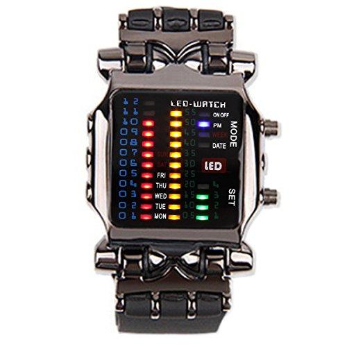 UNIQUEBELLA Binaer Schwarz LED Armbanduhr Digital Analog Edelstahl Uhr Geschenk Watch Gift 1