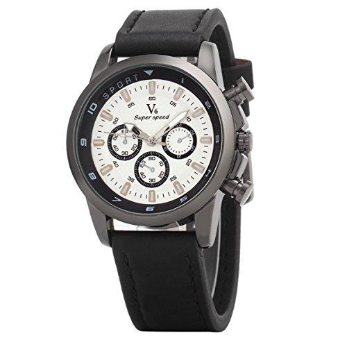 UNIQUEBELLA Armbanduhr Herren Leder Edelstahl Uhr Digital Quarzuhr Sportuhr Analog Sport Watch Schwarz Weiss