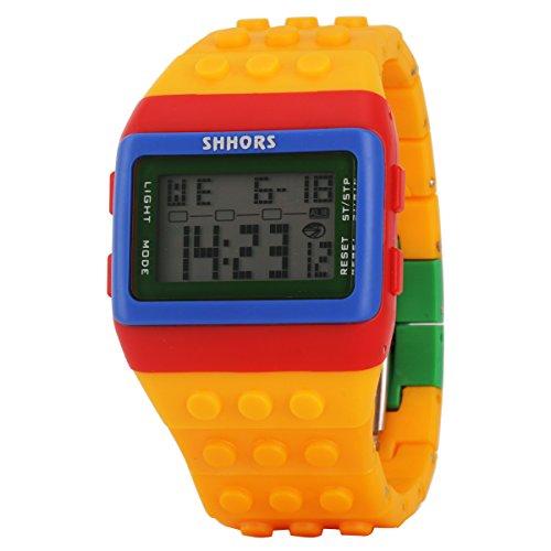 UNIQUEBELLA Damen Herren Kinderuhr Silikon Digital LED Quartz Alarm Datum Sportuhr Wasserdicht 17