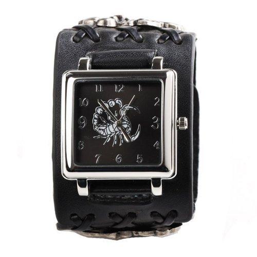 UNIQUEBELLA Punk Gothic Element Armbanduhr Nieten Schaedel Metall Kette Lederarmband Herren Damen Uhr Geschenk Watch Gift Skorpion