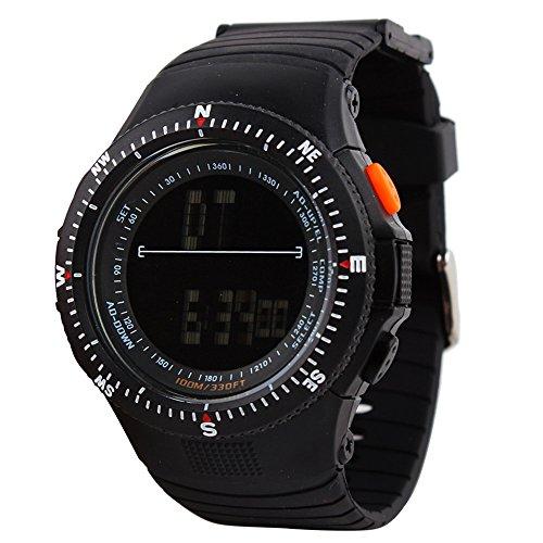UNIQUEBELLA Armbanduhr Multifunktional LED Digitaluhr Bergsteiger Sportuhr Kinder Herren Jungen Silikon Wasserdicht Schwarz