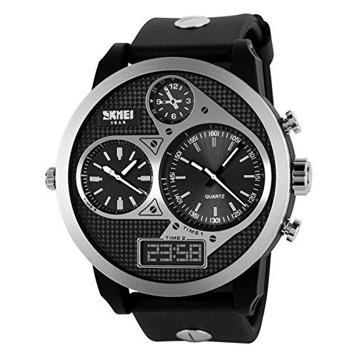 UNIQUEBELLA Armbanduhr Multifunktional Herren Jungen Leder Chronograph Wasserdicht Quarzuhr Schwarz Wiess