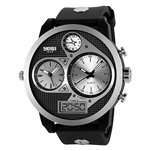UNIQUEBELLA Armbanduhr Multifunktional Herren Jungen Leder Chronograph Wasserdicht Quarzuhr Schwarz Silber