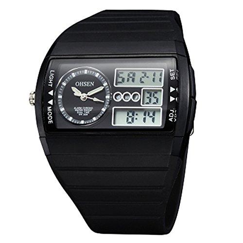 UNIQUEBELLA Armbanduhr OHSEN AD1305 Multifunktional LED Digitaluhr Analog Digital Klassisch Sportuhr Stoppuhr Countdown Alarmuhr DatumUhr Datumsanzeige Silikon Wasserdicht Schwarz