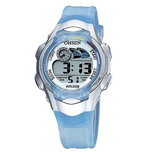 UNIQUEBELLA Armbanduhr OHSEN 0520 Multifunktional LED Digitaluhr Klassisch Sportuhr Stoppuhr Alarmuhr DatumUhr Datumsanzeige Gummi Wasserdicht Blau