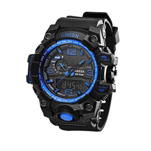 UNIQUEBELLA Armbanduhr OHSEN AD1606 Multifunktional LED Digitaluhr Analog Digital Klassisch Sportuhr Stoppuhr Alarmuhr DatumUhr Datumsanzeige Silikon Wasserdicht Blau