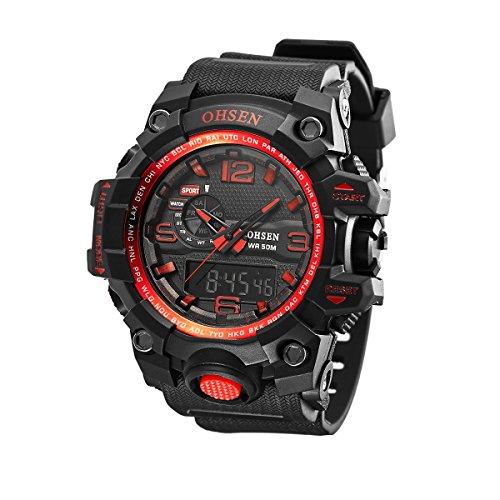 UNIQUEBELLA Armbanduhr OHSEN AD1606 Multifunktional LED Digitaluhr Analog Digital Klassisch Sportuhr Stoppuhr Alarmuhr DatumUhr Datumsanzeige Silikon Wasserdicht Rot