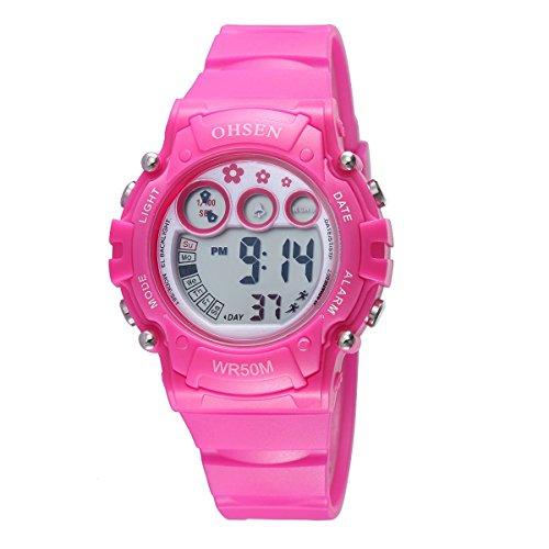 UNIQUEBELLA Armbanduhr OHSEN 1508 Multifunktional LED Digitaluhr Klassisch Sportuhr Stoppuhr Alarmuhr DatumUhr Datumsanzeige Gummi Wasserdicht Rosa