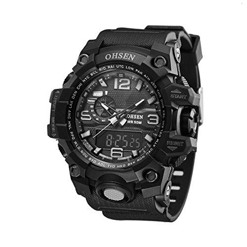 UNIQUEBELLA Armbanduhr OHSEN AD1606 Multifunktional LED Digitaluhr Analog Digital Klassisch Sportuhr Stoppuhr Alarmuhr DatumUhr Datumsanzeige Silikon Wasserdicht Schwarz