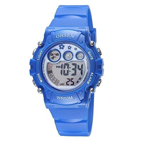 UNIQUEBELLA Armbanduhr OHSEN 1508 Multifunktional LED Digitaluhr Klassisch Sportuhr Stoppuhr Alarmuhr DatumUhr Datumsanzeige Gummi Wasserdicht Blau