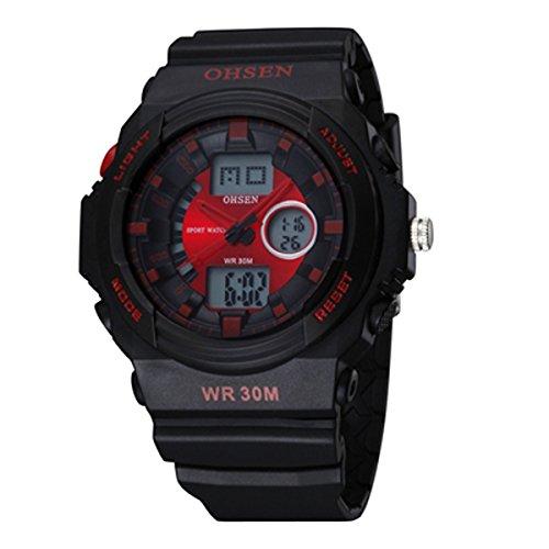 UNIQUEBELLA Armbanduhr OHSEN AD1216 Multifunktional LED Digitaluhr Analog Digital Klassisch Sportuhr Stoppuhr Alarmuhr DatumUhr Datumsanzeige Silikon Wasserdicht Rot